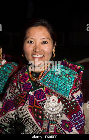 India, Himachal Pradesh, Spiti, Kaza, La Darcha Festival, woman wearing traditional coral and turquoise Spitian - Stock Photo