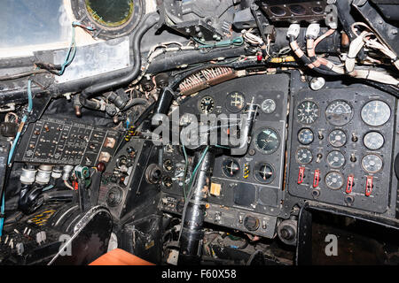 Interior of RAF Canberra bomber showing pilot's seat with front and side control panels. - Stock Photo