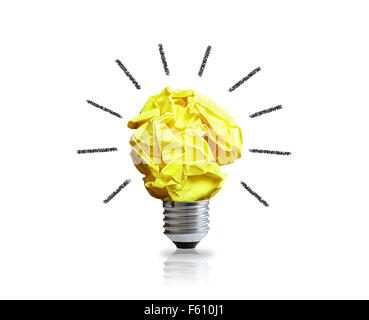 Inspiration concept crumpled paper light bulb metaphor for good idea - Stock Photo