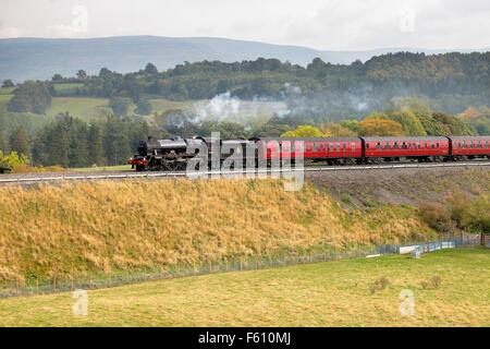 Steam locomotive LMS Jubilee Class Leander 45690 on the Settle to Carlisle Railway Line near Lazonby, Eden Valley, - Stock Photo