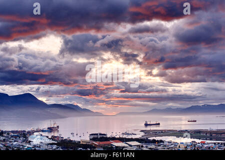 Port of Ushuaia, Tierra del Fuego, Argentina - Stock Photo