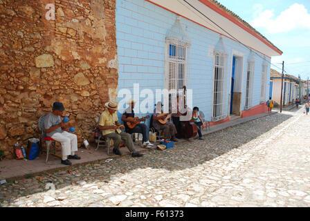 Cuban Street musicians performing in Trinidad, Cuba - Stock Photo