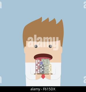 Businessman eating the city, Corruption concept, VECTOR, EPS10 - Stock Photo