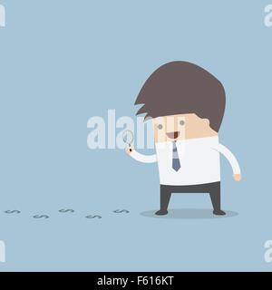 Businessman looking on dollar through magnifying glass, VECTOR, EPS10 - Stock Photo