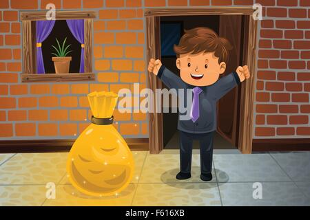 A vector illustration of happy man finding a bag of money in front his house - Stock Photo
