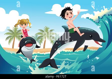 A vector illustration of happy children playing with dolphins in the ocean for carefree concept - Stock Photo