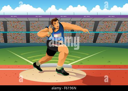 A vector illustration of shot putter in a shot put competition for sport competition series - Stock Photo