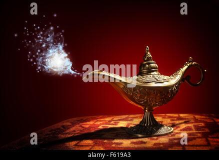 Magic Aladdins Genie lamp - Stock Photo