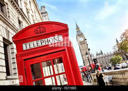 London telephone booth and big ben - Stock Photo