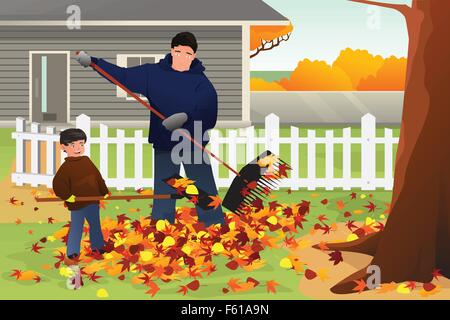 A vector illustration of father and son raking leaves in the yard during Fall season - Stock Photo