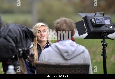 Bisham Abbey, Marlow., Bucks, UK. 10th November, 2015. Amber Hill (Womens Skeet) is interviewed for TV. TeamGB announcement - Stock Photo