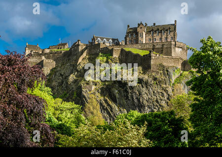 The North Walls of Edinburgh Castle, Scotland - Stock Photo