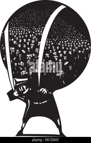 Woodcut style image of man carrying a globe filled with refugees and immigrants on his back. - Stock Photo
