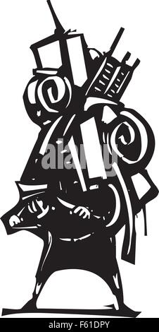 Woodcut style image of man carrying all his possessions on his back - Stock Photo