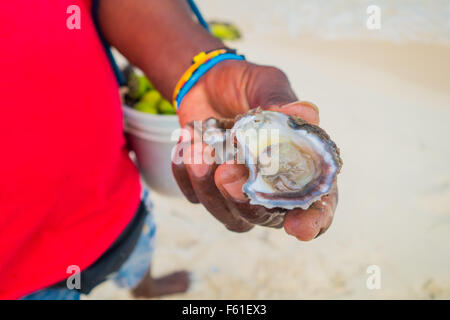 Fresh clam opened by beach vendor in Playa Blanca, Colombia - Stock Photo