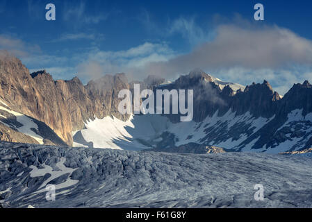 Rhone glacier in Swiss Alps in summer day. Switzerland, Europe. - Stock Photo
