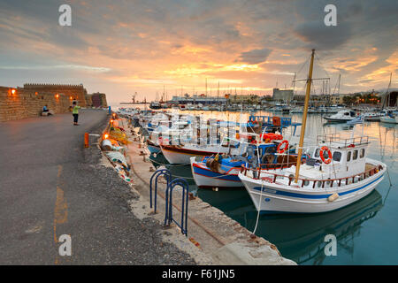 Venetian fortress in the old harbour of Heraklion in Crete, Greece - Stock Photo