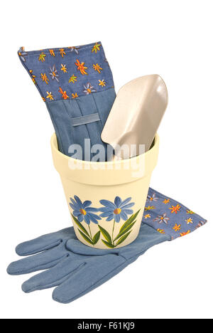 Flower Pot Trowel and Gloves Stock Photo Royalty Free