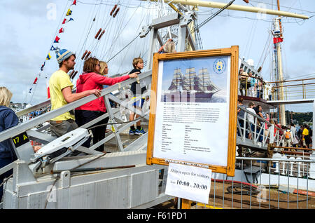 Crowds admire the vessels at the ' Tall Ships ' event in Falmouth, Cornwall, UK - Stock Photo
