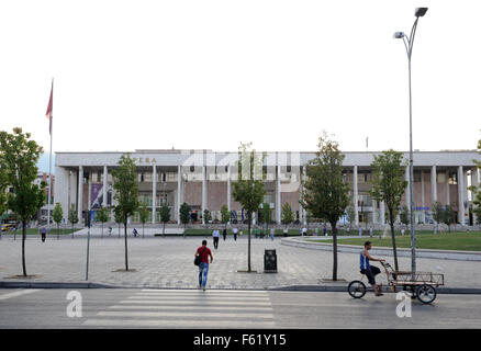 The Opera in Skanderbeg Square.  Skanderbeg Square, Tirana, Albania. 02Sep15 - Stock Photo
