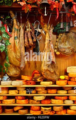 Amazing traditional Portuguese products in a delicatessen in Porto, Portugal - Stock Photo