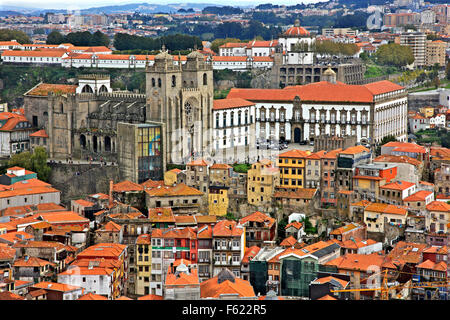 View of Se neighborhood and the Cathedral of Se, Porto city, Porto e Norte, Portugal. View from Torre dos Clerigos. - Stock Photo