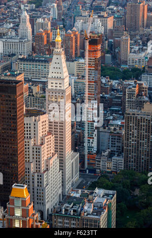 Sunset over Midtown and Madison Square Park. New York City aerial view. Skyscrapers and high-rises shape Manhattan's - Stock Photo