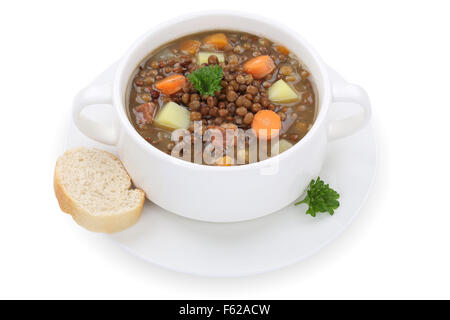 Lentil soup stew meal with lentils in cup isolated on a white background - Stock Photo
