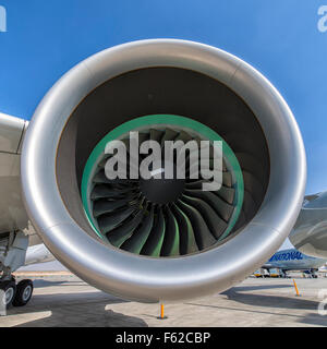 Rolls-Royce Trent 900 Engine on Airbus A380 at Dubai Air Show 2015 in Dubai, UAE - Stock Photo