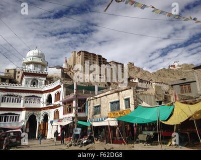 Market in Leh, Ladakh, India - Stock Photo