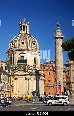 The Trajan's column  (Columna Traiani) in Trajan's Forum (market), Rome, Italy. - Stock Photo