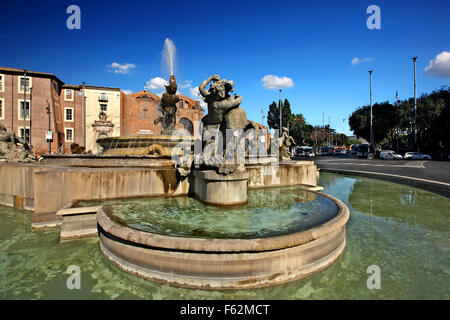 The Fontana delle Naiadi (Fountain of the Naiads)  in Piazza della Repubblica (square of the Republic), Rome, Italy - Stock Photo