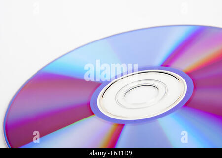 Close-up view of colorful CD. Diagonal view - Stock Photo