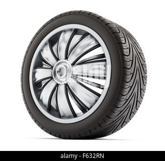 car wheel and tyre isolated on white background stock photo