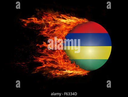 Concept of speed - Flag with a trail of fire - Mauritius - Stock Photo