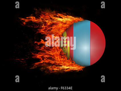 Concept of speed - Flag with a trail of fire - Mongolia - Stock Photo