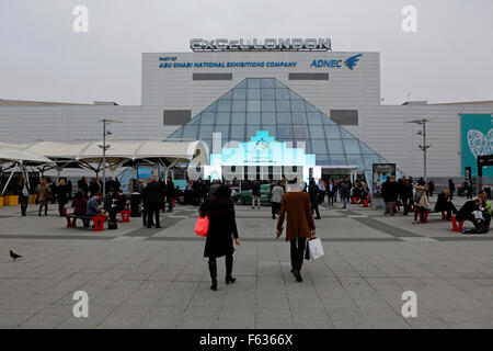 People outside of the ExCel London conference centre during the World Travel Market in London, UK. - Stock Photo