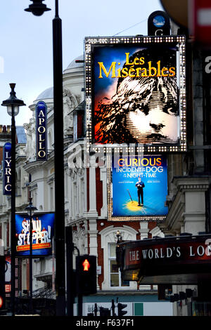 London, England, UK. Theatres in Shaftesbury Avenue - Stock Photo