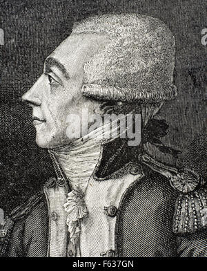 Marquis de Lafayette (1757-1834). French aristocrat and military officer Portrait. Engraving. - Stock Photo