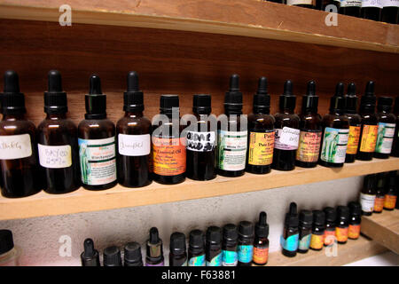 Ingredients used by Lucy Hagenrty, owner and creator of the perfumes and perfumed candles on sale in La Bougie perfume - Stock Photo