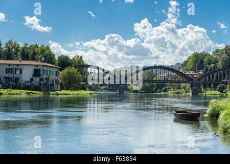 Bridge over the Adda River at Brivio Lombardy Italy - Stock Photo