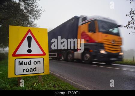 mud on road ahead warning sign yorkshire united kingdom - Stock Photo