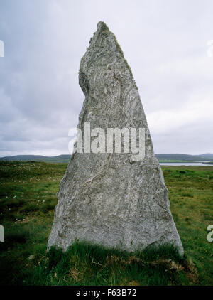 Looking SW at Stone 3 of Cnoc Ceann a' Gharraidh (Callanish II) stone circle, Isle of Lewis: five upright stones - Stock Photo