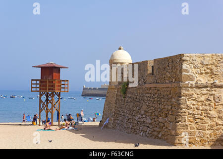 Caleta beach, in the middle of the old city, in Cadiz, Spain. - Stock Photo
