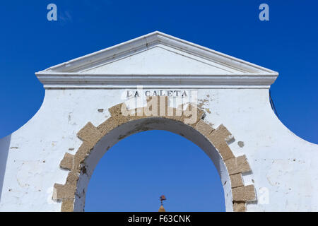 Old entrance to the Caleta beach in Cadiz, Andalucia, Spain - Stock Photo