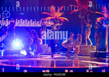 Celebrities perform onstage at the Latin American Music Awards at the Dolby Theatre  Featuring: Farruko Where: Los - Stock Photo