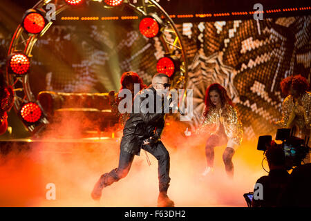 Celebrities perform onstage at the Latin American Music Awards at the Dolby Theatre  Featuring: Yandel Where: Los - Stock Photo