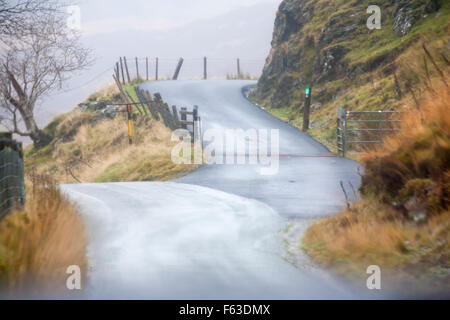 View out of car windscreen driving along Tregaron Mountain Road , Mid Wales in Autumn - Stock Photo