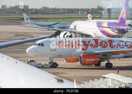 Airbus A319-111 of low-cost airline EasyJet with registration G-EZAY at Brussels Airport - Stock Photo