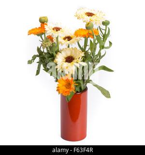 Calendula in vintage vase isolated on white background - Stock Photo